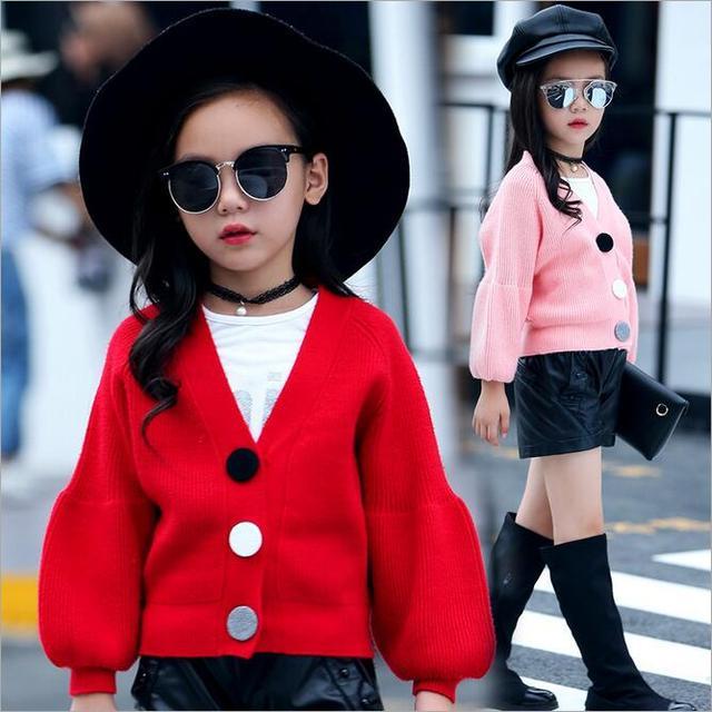 Рождественские свитера дети девушки v-образным вырезом красочные однобортный красный розовый хаки с длинным рукавом мода кардиган детской одежды 4-10 Т