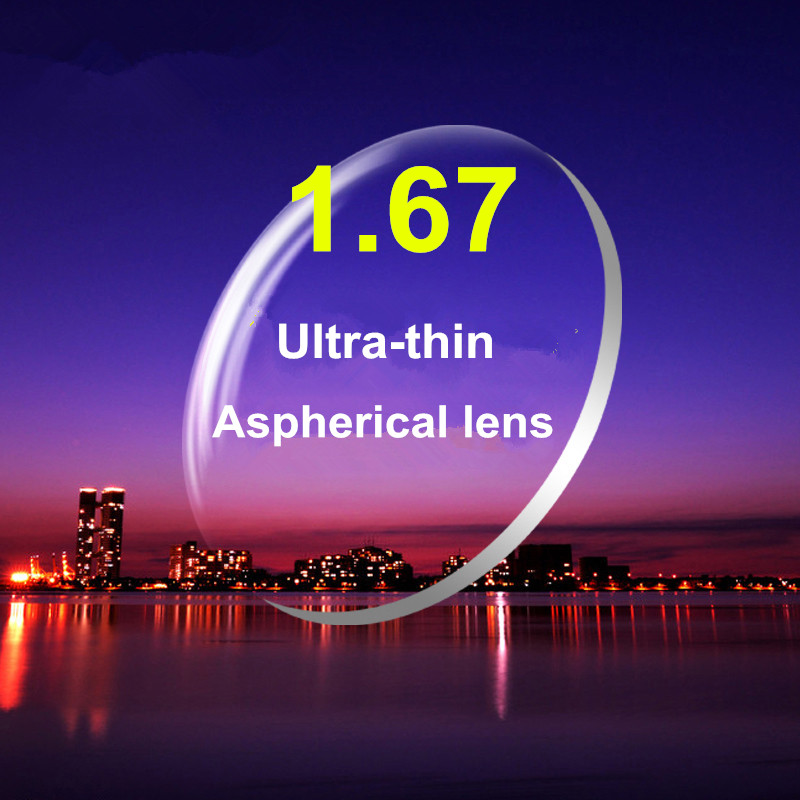 Lentilles asphériques de lentille de résine de haute définition d'index 1.67 lentille de lunettes de myopie de Prescription avec le revêtement 2 pièces pour une paire