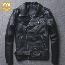 Мужская куртка из натуральной кожи, мотоциклетная куртка черного цвета, высокое качество, Воловья кожа, байкерская куртка из натуральной кожи, Мужская облегающая одежда на молнии