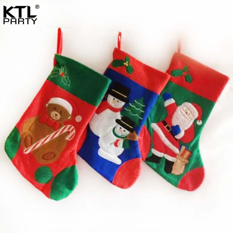 US $13.24 22% OFF KTLPARTY 3pcs/lot 39cm*20cm felt bear/ Santa  Claus/snowman christmas stocking children gift bag-in Stockings & Gift  Holders from ...