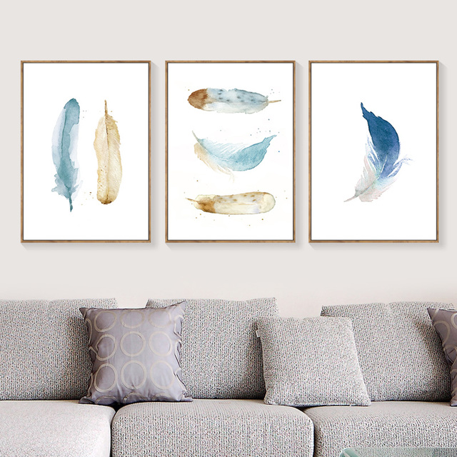 Decoracion Nordica Posters And Prints Blue Brown Abstract Feather ...
