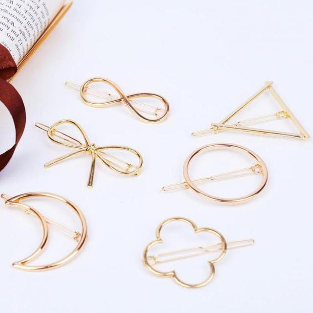335ee8ac67ae5 Pasadores de Pelo de moda Para Las Mujeres Geométrica Clip Accesorios  Broches de Aleación de Artesanía