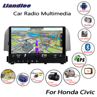 Liandlee For Honda Civic 2016~2018 Android Car Radio Player GPS Navi Navigation Maps Camera OBD TV Screen Multimedia no CD DVD