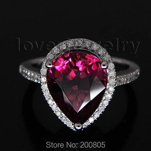 Природных алмазов розовый турмалин кольцо одноцветное 14Kt белого золота/585 кольцо из белого золота Груша 7x9 мм SR10