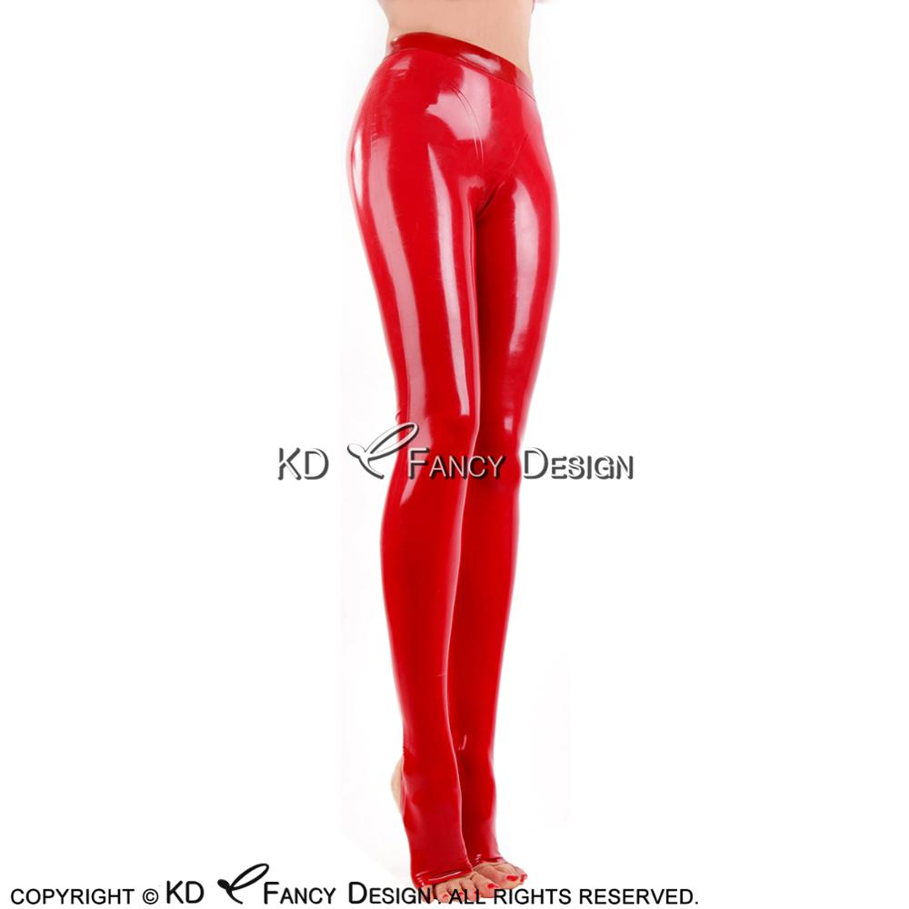 Red Sexy Latex Leggings With Feet Socks Open Rubber Pants Jeans Trousers Bottoms Plus Size CK-0067