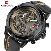 NAVIFORCE reloj deportivo con fecha y semana para hombre, de cuarzo, de cuero genuino, para negocios, militares, masculino, 9110