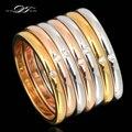 Qualidade Top Designer 7 Rodadas Anéis Cubic Zirconia Pavimentada Atacado Rose & White Banhado A Ouro Jóias Para As Mulheres Anel de Cristal DFR388