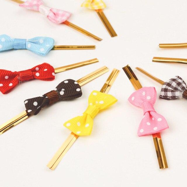 300pcs Bowknot Metallic Twist Wire Ties Candy Lollipop