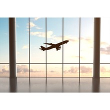 Laeacco Photography Backdrop Plane Take Off French Window Airport Waiting Room Baby Child Portrait Photo Background Studio