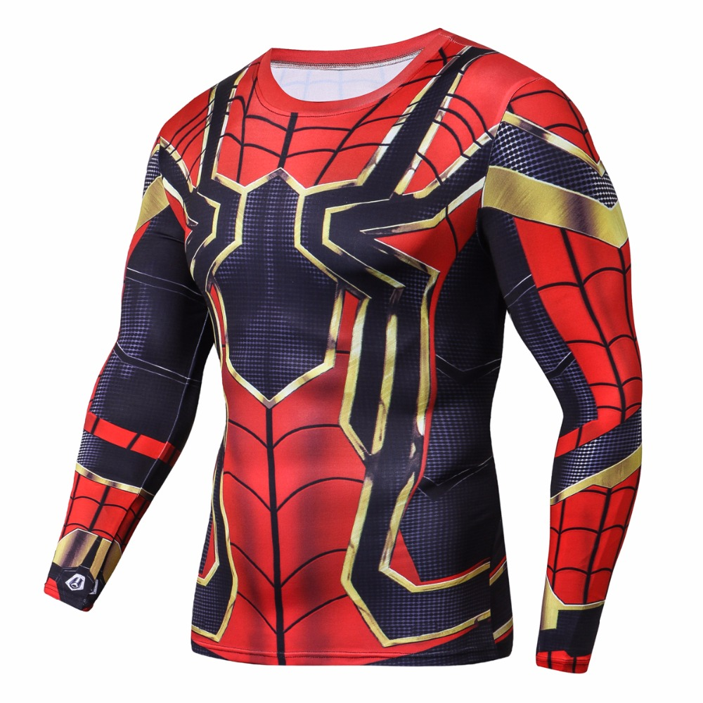 Raglan Sleeve Iron Spiderman 3D Printed T shirts Men Compression Shirts 2018 NEW Crossfit Tops For Male Cosplay Costume Clothing