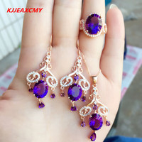 KJJEAXCMY boutique jewels 925 pure silver Natural Amethyst lady suit jewellery package