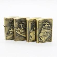 Battleship Lighters Bronze Kerosene Lighter Gasoline Petroleum Refillable Cigarette  Metal Retro Men