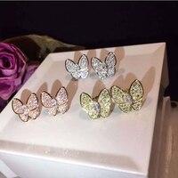 Marchio di alta Moda Gioielli Per Le Donne Monili di Cerimonia Nuziale Della Farfalla Dell'orecchino 3 Colori di Stile Animale Orecchini Del Partito Italia di Qualità