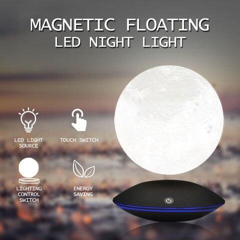luz da noite levitacao magnetica 13 5 cm 3d lua lampada 360 rotativa toque flutuante