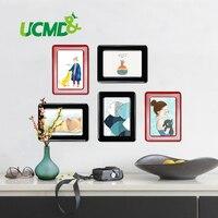 Duvar Sticker Manyetik Fotoğraf Resim Çerçeveleri Duvar Dekor Hareketli Esnek renkli Kare Çerçeve Resim Çerçeveleri Duvar 5 Adet için/Lot