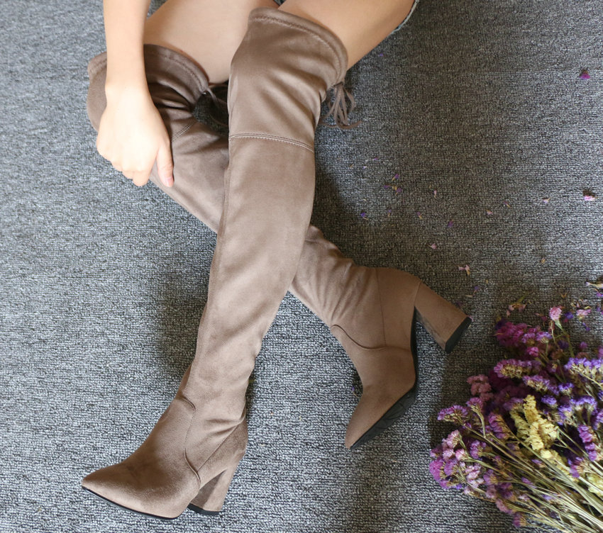 Flock Leather Over The Knee Boots Lace Up Sexy High Heels Autumn Winter Women Shoes 33