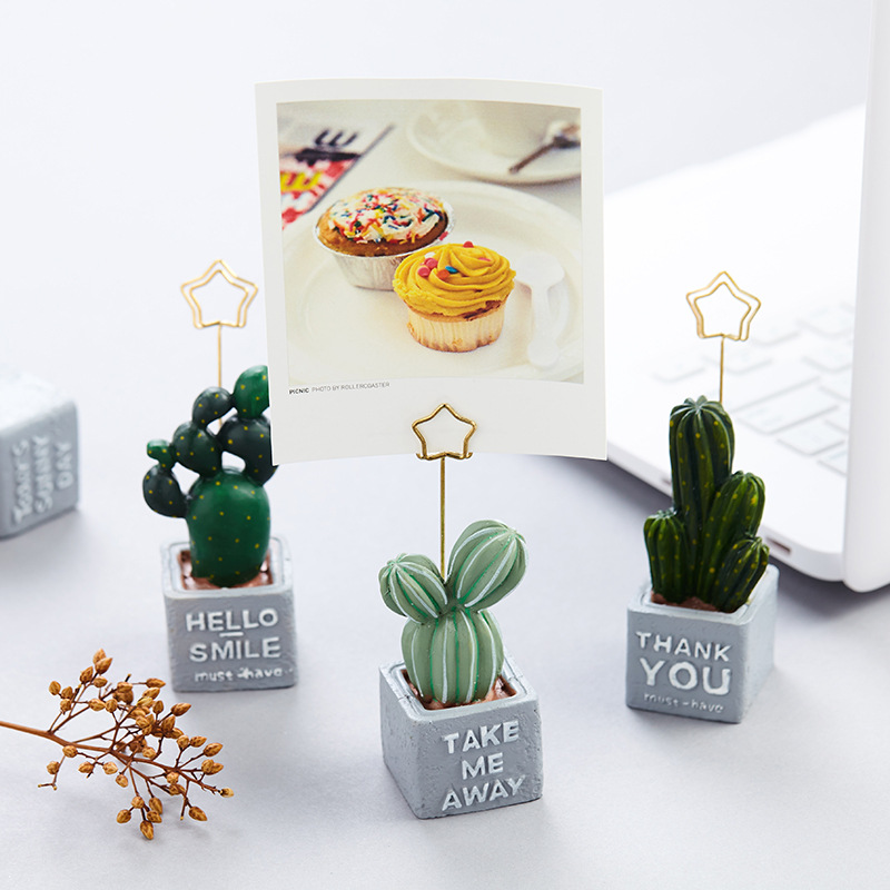 1 Piece Creative Cactus Plants Resin Message Photo Card Paper Clip Memo Note Holder Home Office Desk Decorations Birthday Gift Card Holder & Note Holder