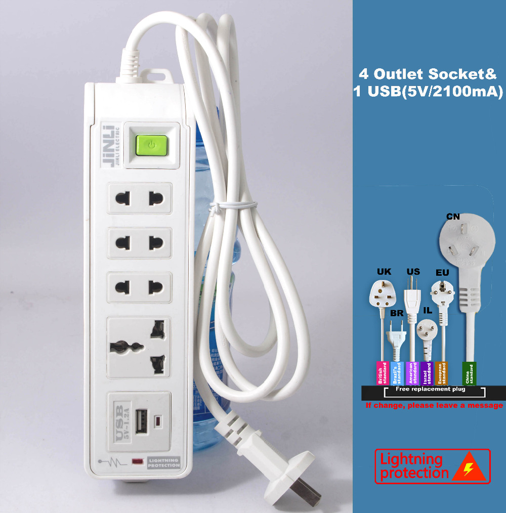Br Il Au Us Uk Eu Plug Universal 4 Outlet Power Socket Usb Electrical Wiring Strip With Portable In 3 1 Breakfast Maker Parts From Home Appliances On