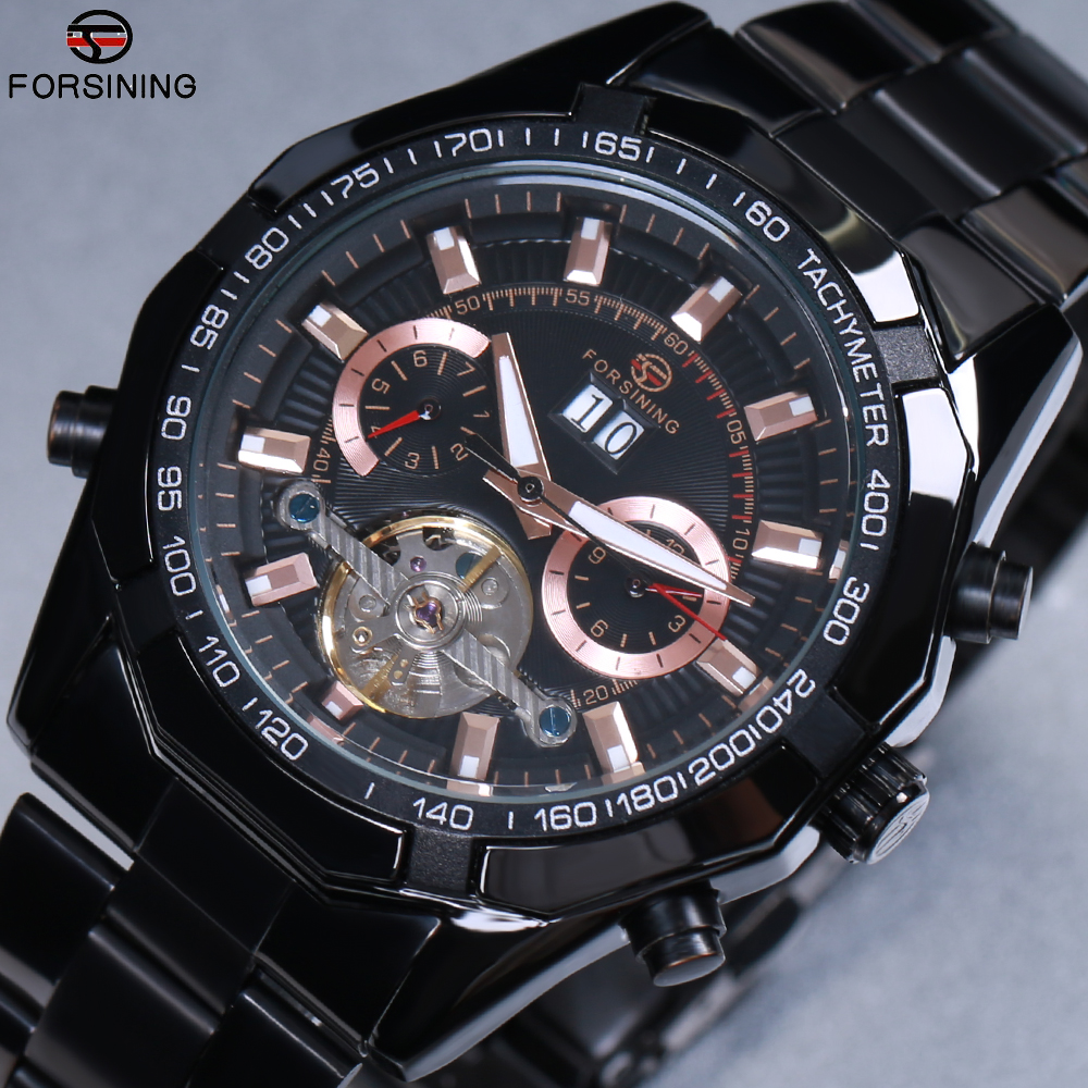 2018 NEW FORSINING Mens Watches Automatic Self-Wind Mechanical Watch Tourbillon Stainless Steel Luxury Wristwatch Relojes Hombre все цены