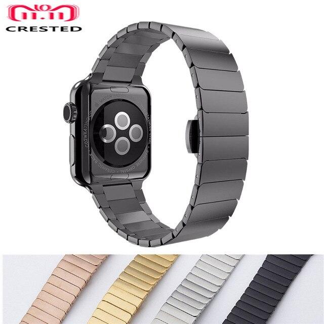 Хохлатый ремешок из нержавеющей стали для Apple Watch band 4 3 iwatch band 42 мм/38 мм 44 мм/40 мм correa pulseira браслет ремешок для часов ремень