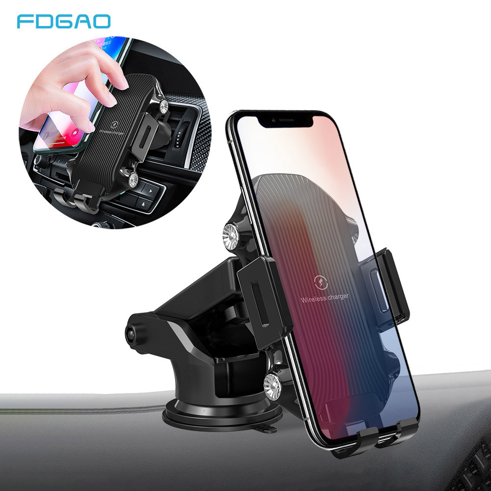 FDGAO Fast Wireless Car Charger Mount 10W Qi Quick Charging Car Phone Holder for iPhone X XS Max XR 8 Sumsang S10 S9 Xiaomi Mi 9