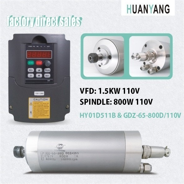 huanyang drives vfd inverters 1 5kw 110v frequency converter and spindle  motor 800w 110v water cooling