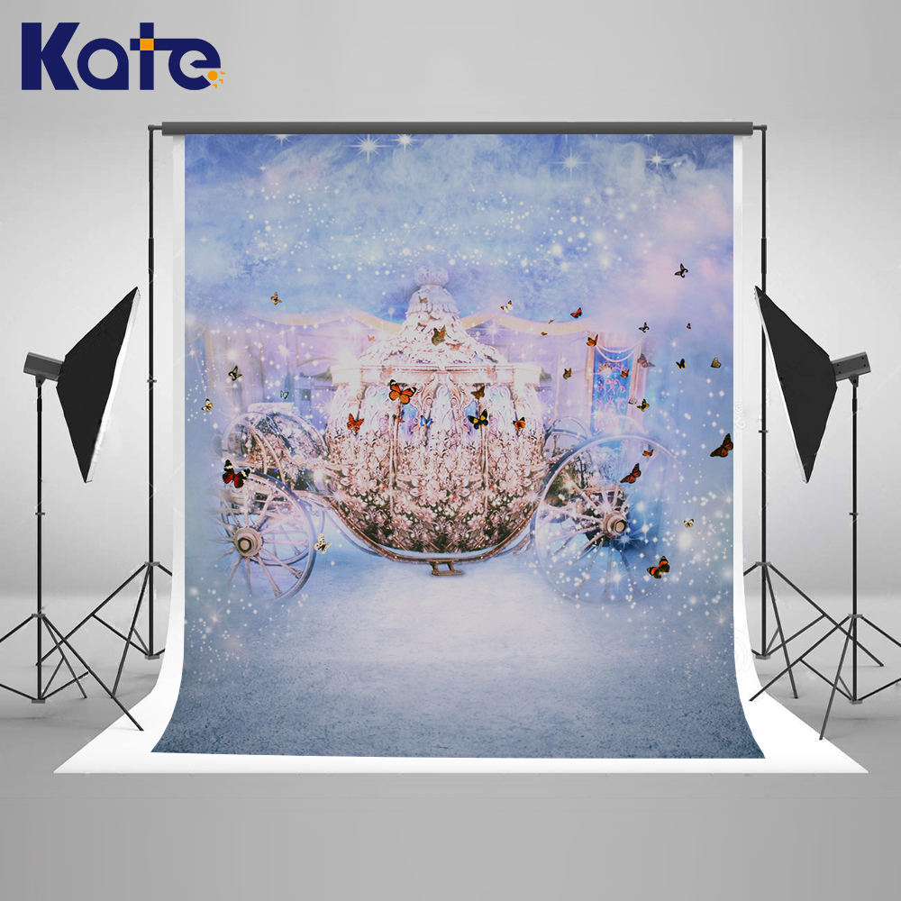 Kate Crystal Carriage Backdrop for Princess Photos Bokeh Fairy Tale Background Photocall for Girl Princess Children Photography vinyl photography background fairy tale