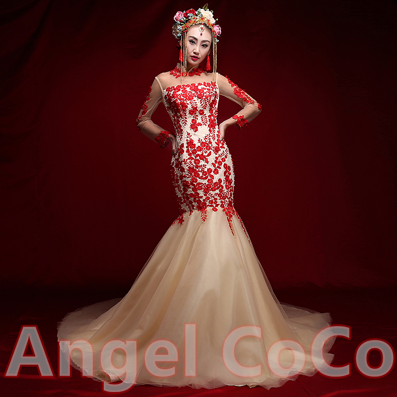 White and red mermaid style wedding dresses