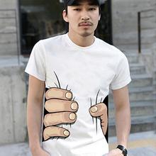 Men s Fashion Summer 3D Big Hand Print Round Neck Short Sleeve White T shirt