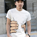 New and fashion! Men's Fashion Summer 3D Big Hand Print Round Neck Short Sleeve White T-shirt