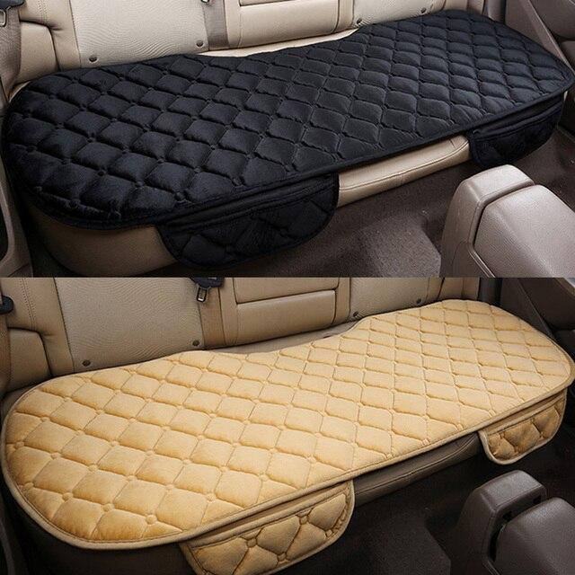 Auto assento traseiro coxim do assento de carro covas protetor esteira do assento caber a maioria dos veículos antiderrapante manter quente inverno veludo de pelúcia volta almofada do assento