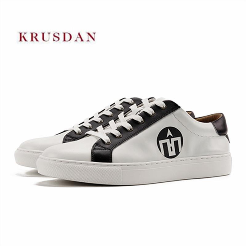 KRUSDAN Casual Men Sneakers Handmade White Genuine Leather Lace Up Vulcanize Shoes Men's Fashion Hot Selling Breathable Flats