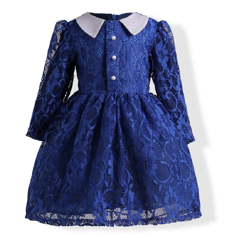 2017 Autumn new style 3-10 years Girls Dresses children Bud silk Princess dress long-sleeved Dark blue Christmas party dress qiu dong children dress long sleeved cinderella princess dress love sally dresses of the girls