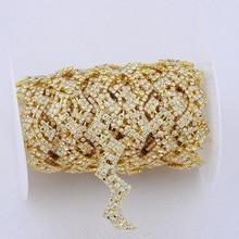 10Yards Gold Tone Chain Glass Rhinestone And Brass Trim Wedding Decoration DIY Craft For Sewing Decor AIWUJIA