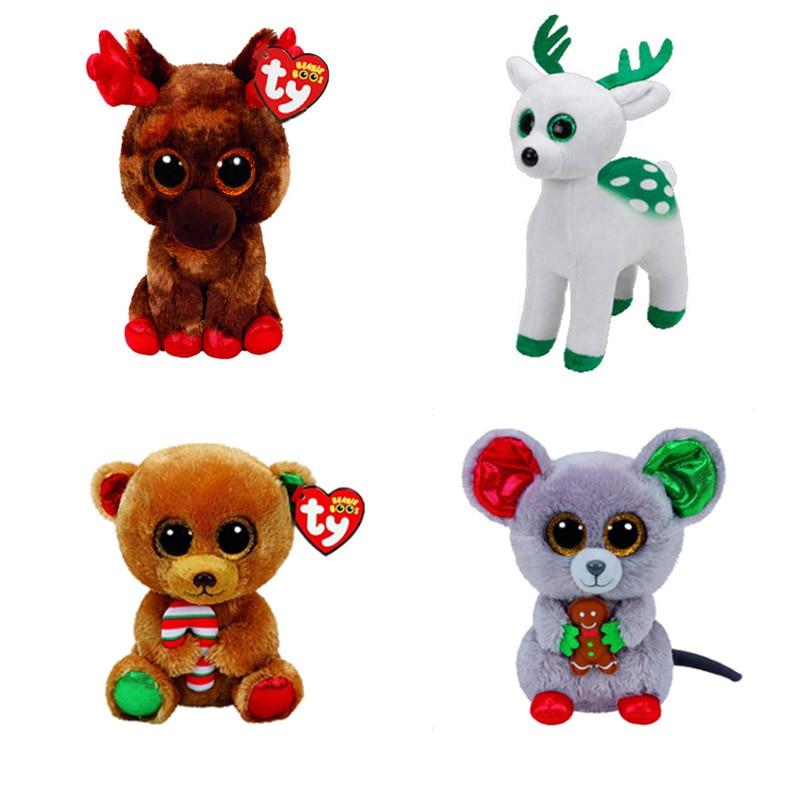 Christmas Ty Beanie Boos6 15cm Canada Maple Moose Christmas Mouse
