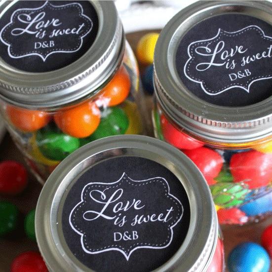 Custom Wedding Mason Jar Stickers Love Is Sweet Candy