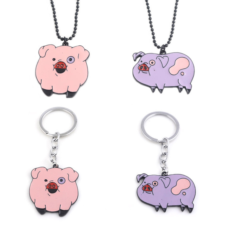 Anime Gravity Falls Action Figure Toys Cartoon Pig Model Keychain Pendants Metal Necklace Cosplay Accessories Gift