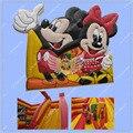 Nuevo Diseño 5 Metros Inflable Mickey Mouse Castillo, Mickey Casa de La Despedida, Mickey Castillo Hinchable con Tobogán, Calidad comercial
