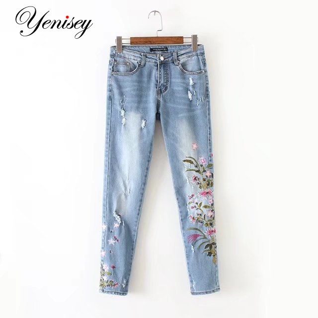 Chen, 60-1628, Европа и Америка мода ветер, хризантемы вышитые джинсы 0606