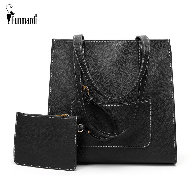 2 Set Fashion Women Shoulder Bag PU Leather Handbags Detachable Wallet Shopping Tote New European Style Top-handle Bags WLHB1777 2018 fashion bag female top handle tote pu leather european and american style women handbags shoulder bags bolsa feminina