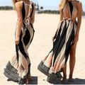 Summer dress bohemian estilo sexy halter backless side dividir longo maxi vestidos oco out plus size beach party dress vestido U2