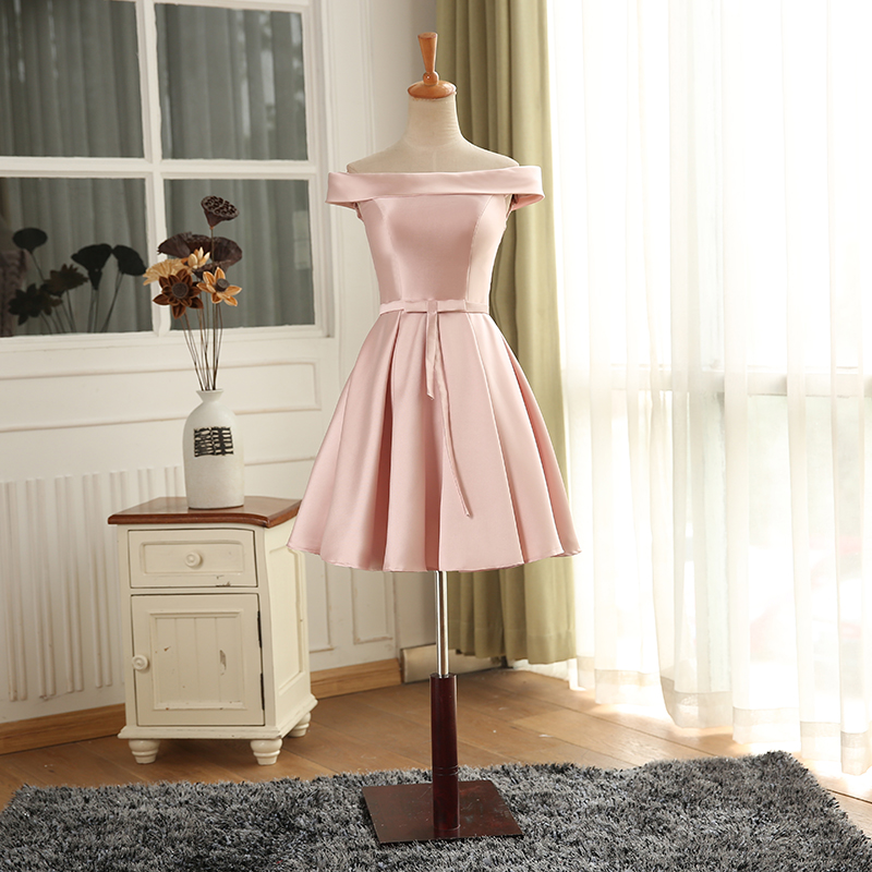 a57aa22f96ee1 New Cap Sleeves Pink Satin A Line Knee Length Cocktail Dresses For ...