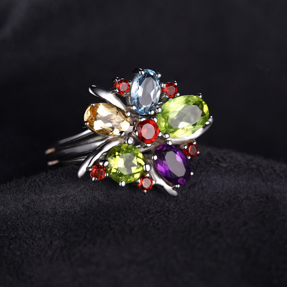 JewelryPalace Flower Multicolor 3.1ct Amethysts Garnets Peridot Citrines Blue Topazs Cocktail Ring Pure 925 Sterling Silver