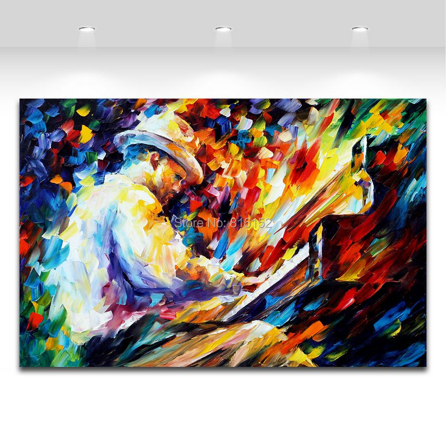 Moderne Palette Couteau Peinture Jazz Musique Jouer