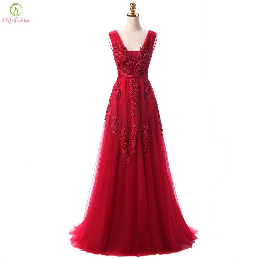 Robe De Soiree SSYFashion Lace rebordear Sexy Backless vestidos De noche largos Banquete De novia elegante piso De longitud partido vestido De baile