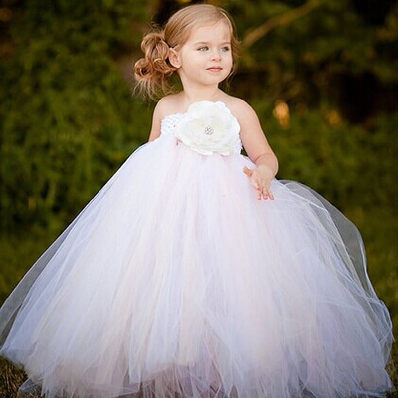 Exactly As Picture 2T-12Y White Mix Ivory Floor-Length Flower Girl Tutu Dress For Wedding Birthday Party Photograps girl dress white mix ivory floor length flower girl tutu dress girls clothes for wedding birthday party