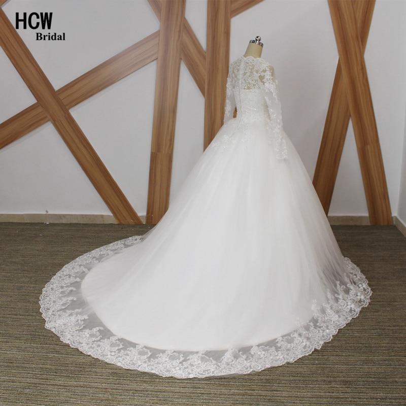 Vintage muslimsk bröllopsklänning Långärmad Skallopad hals Tyll - Bröllopsklänningar - Foto 2