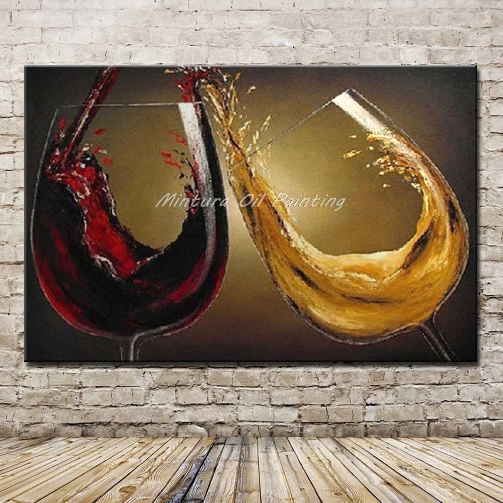 Mintura Art Hand Painted Abstract Red Wine Glass Oil Painting on Canvas For Living Room Wall Decoration Modern Wall Art Pictures