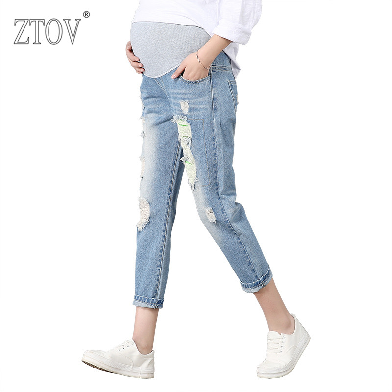 c89fd99bbd1 ZTOV Maternity Pants For Pregnant Women Pregnancy Denim Jeans Spring Hole  Trousers Belly Capris Legging Clothing