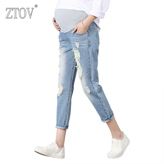 ZTOV Maternity Pants For Pregnant Women Pregnancy Denim Jeans Spring Hole Trousers Belly Capris Legging Clothing Overalls Pants